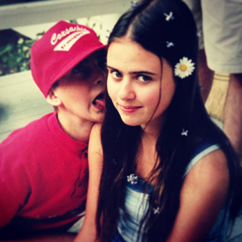 "(Kat Rosenfield at 17. She says, ""(I love how my little brother is trying to lick my ear while it was taken—obviously some things don't change."")"