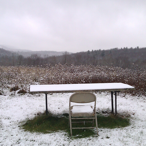 chair in snow