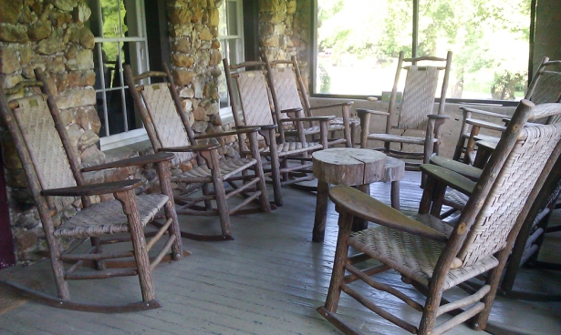 (This was my favorite part of Rock House: the porch, and the rocking chairs! We'd gather here before dinner to talk.)