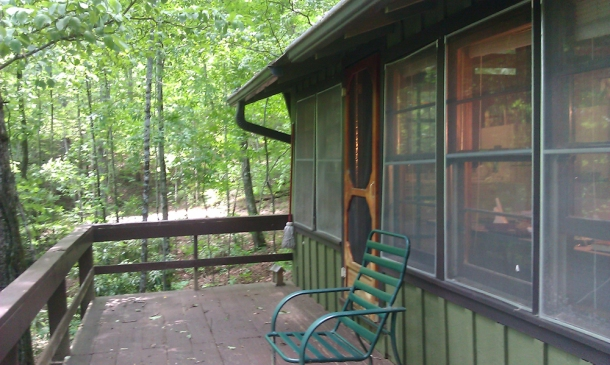 """(My back porch. Where I liked to go to """"think."""")"""
