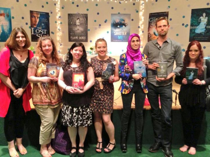 "Authors after the ""Beneath the Surface"" panel! Here, from left, is our moderator Jenny Martin, Rae Carson, me, Tessa Gratton, Tahereh Mafi, Ransom Riggs, and Aimee Carter."