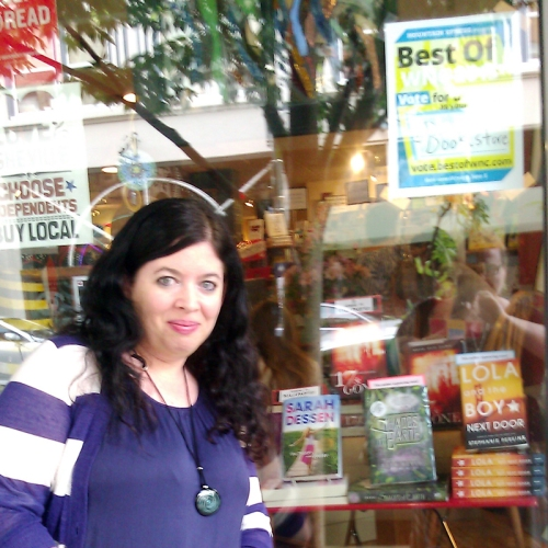 The window of Malaprop's Bookstore, before the event.