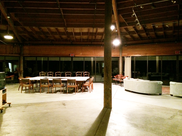 The Artists' Barn the night before all the writers arrived...