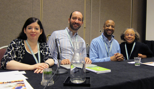 Photo: Claire Kirch, courtesy of Publishers Weekly. From left: me, Bill Konigsberg, Varian Johnson, and Jewell Parker Rhodes.