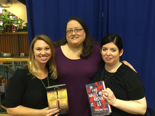 At BookPeople with Suzanne Young and my Writing Barn TA, Jess Capelle