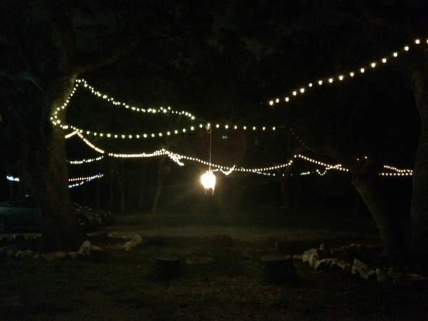 The lights outside the barn at night...