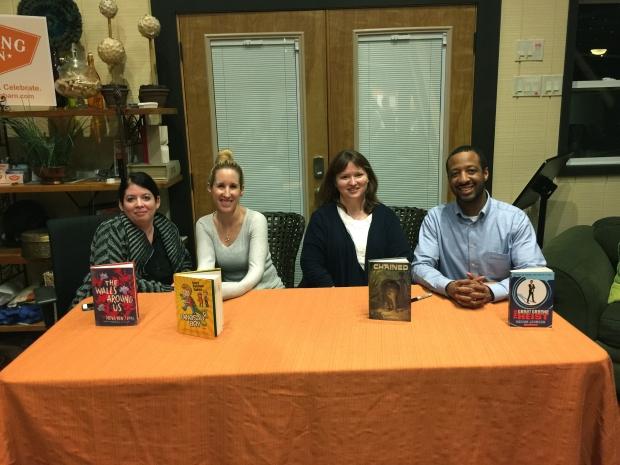 Industry panel at the Writing Barn with local guest authors Cory Putman Oakes, Lynne Kelly, and Varian Johnson