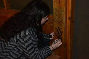 Signing the Writing Barn in Austin, Texas, after teaching a week-long workshop there